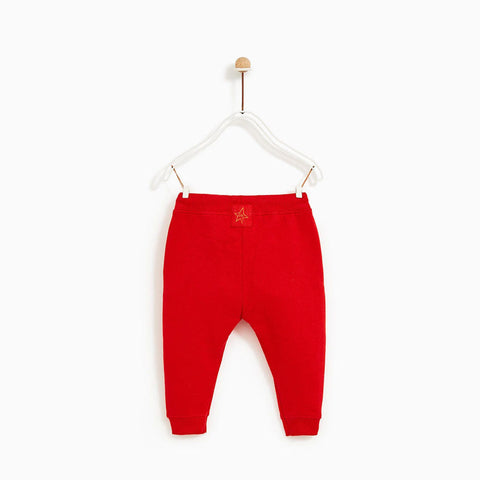 ZARA Back Star Patch Red Unisex Cotton Terry Trouser