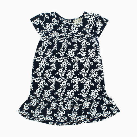 NEXT Girls All over Printed Flower Navy Blue Cotton Dress