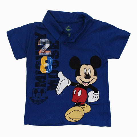 Mickey 28 Boys Royal Blue Cotton Jersey Polo