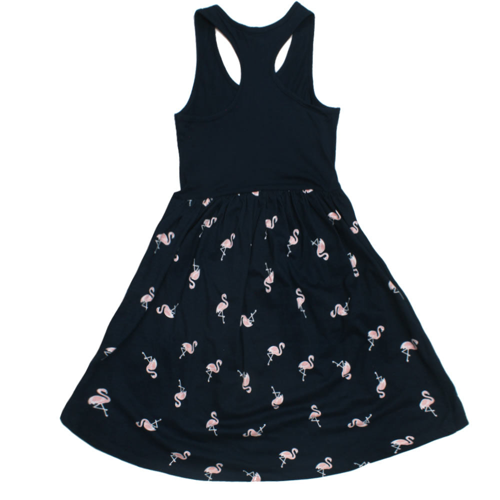 B COLLECTION All Over Flamingo Print Girls Premium Cotton Dress