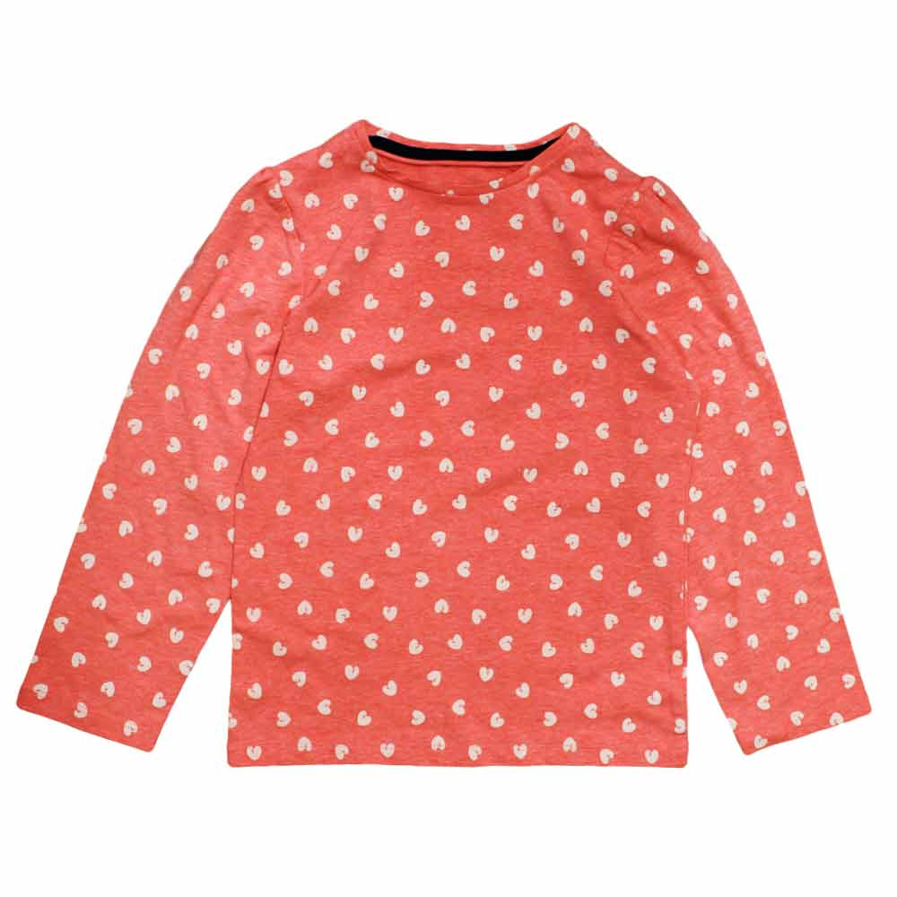 All over Hearts Print Premium Soft Cotton Girls Pink Tshirt