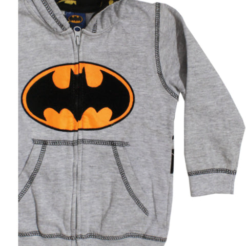 BATMAN Logo Velvet Print Grey Boys Cotton Hoodies