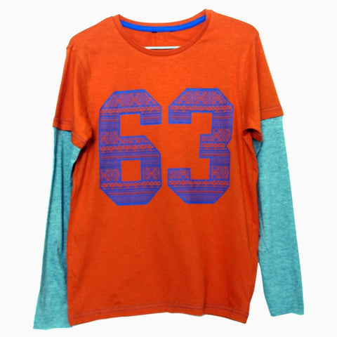 Premium Cotton 63 Orange boys full sleeves Tshirt