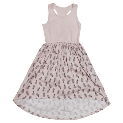 B Collection Pineapple Print Baby Pink Girls Premium Cotton Dress