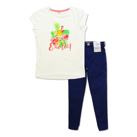 KAPPAHL Exoctic Glitter Flamingo Print Premium Cotton Off White T shirt With Blue Jegging 2 Piece Set