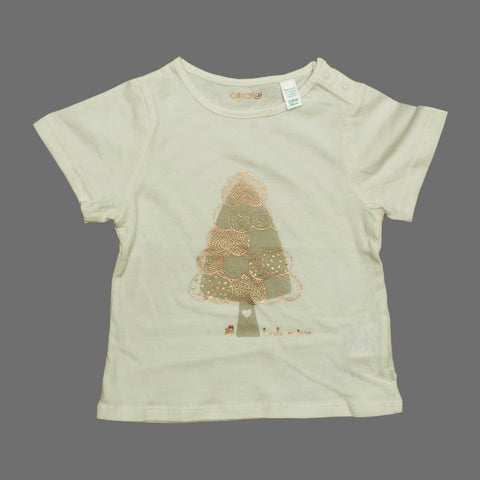 OBAIBI off White Lovely nature Premium Cotton Tshirt