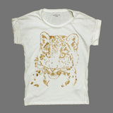MONOPRIX Girls Premum Cotton Glitter Tiger White Tshirt