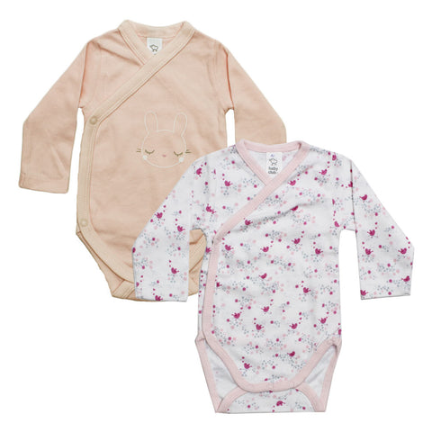 BABY CLUB All Over flowers and Pink Bunny 2 Piece Premium Cotton Romper Set