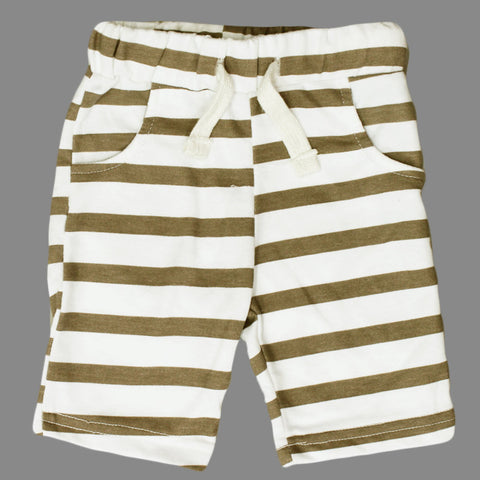 LEFTIES Brown and White Stripes Cotton Terry Shorts