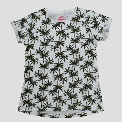 Pepperts Premium Cotton All over Palm Tree White Girls Tshirt