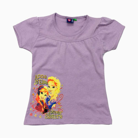 Anna and Elsa Forever Sisters Light Purple Girls Tshirt
