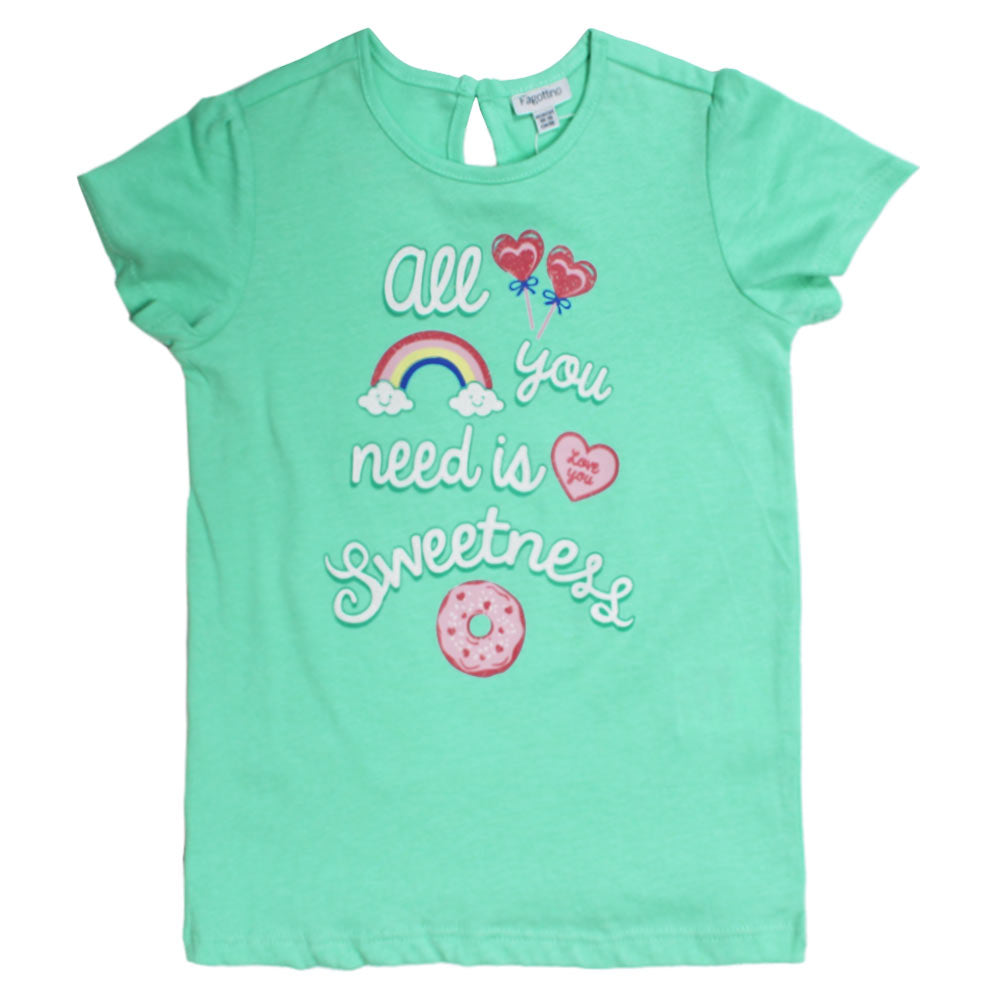 FAGOTTINO All You Need Light Green Girls Premium Cotton Tshirt