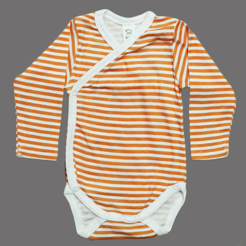 BABY CLUB Orange and White Stripes Wrap Style Cotton Romper