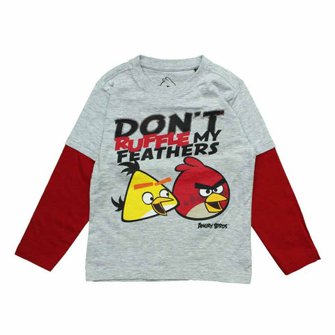 ANGRY BIRDS Ruffle Feathers Boys Raglan Sleeves Premium Cotton Tshirt