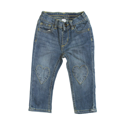 BABY GAP Heart Patch Light Blue Girls Denim Jeans