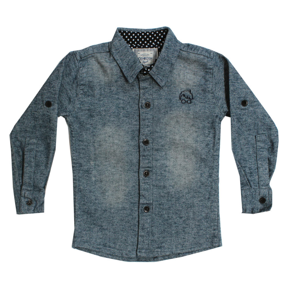 OSHKOSH Embroidery Blue Premium Cotton Casual Winter Shirt