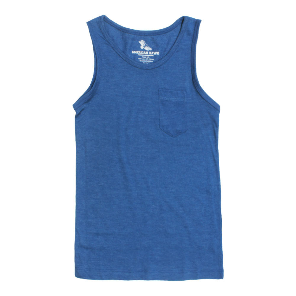 American Hawk Boys Front Pocket Blue Tank Top