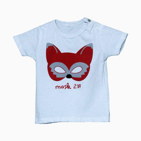 Red cat mask white unisex Tshirt