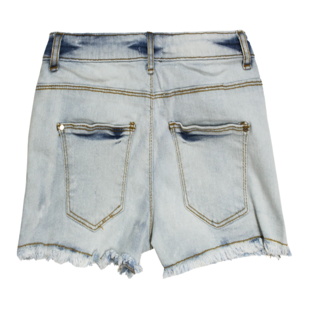 RIVER ISLAND Sand Washed Heavy Ripped Light Blue Girls Denim Short