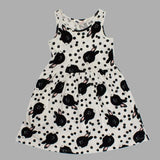 HnM Rabbit Print Pure Cotton Sleevless Sumer Girls OFF WHITE Dress