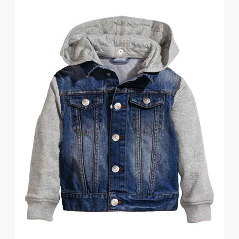 HNM Denim and Fleece Uni-sex Jacket with Detachable Hood