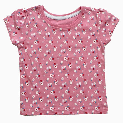 All over Floral Print Baby Pink Girls Tshirt