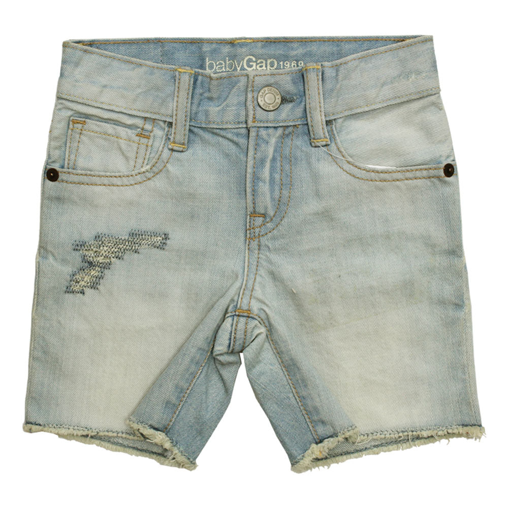 BABY GAP Fashion Ripped Light Blue Denim Shorts