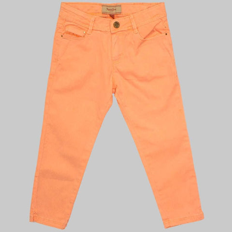 Light Orange Cotton Embroidered High Fashion Girls Jeans