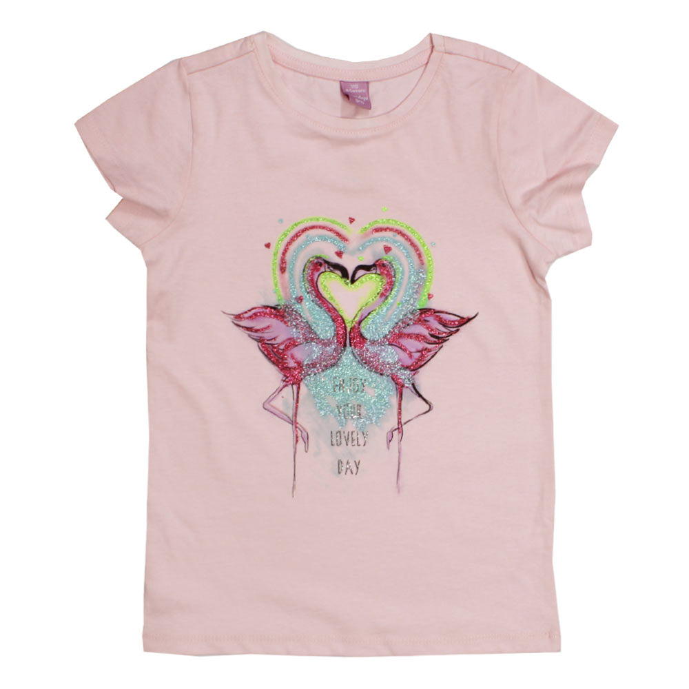 DOPO DOPO Glitter Duck Light Pink Girls Premium Cotton Tshirt