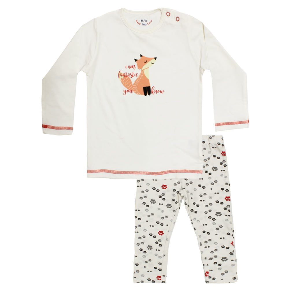 BABY BEAR I Am Fantastic Off White Unisex 2 Piece Night Suit