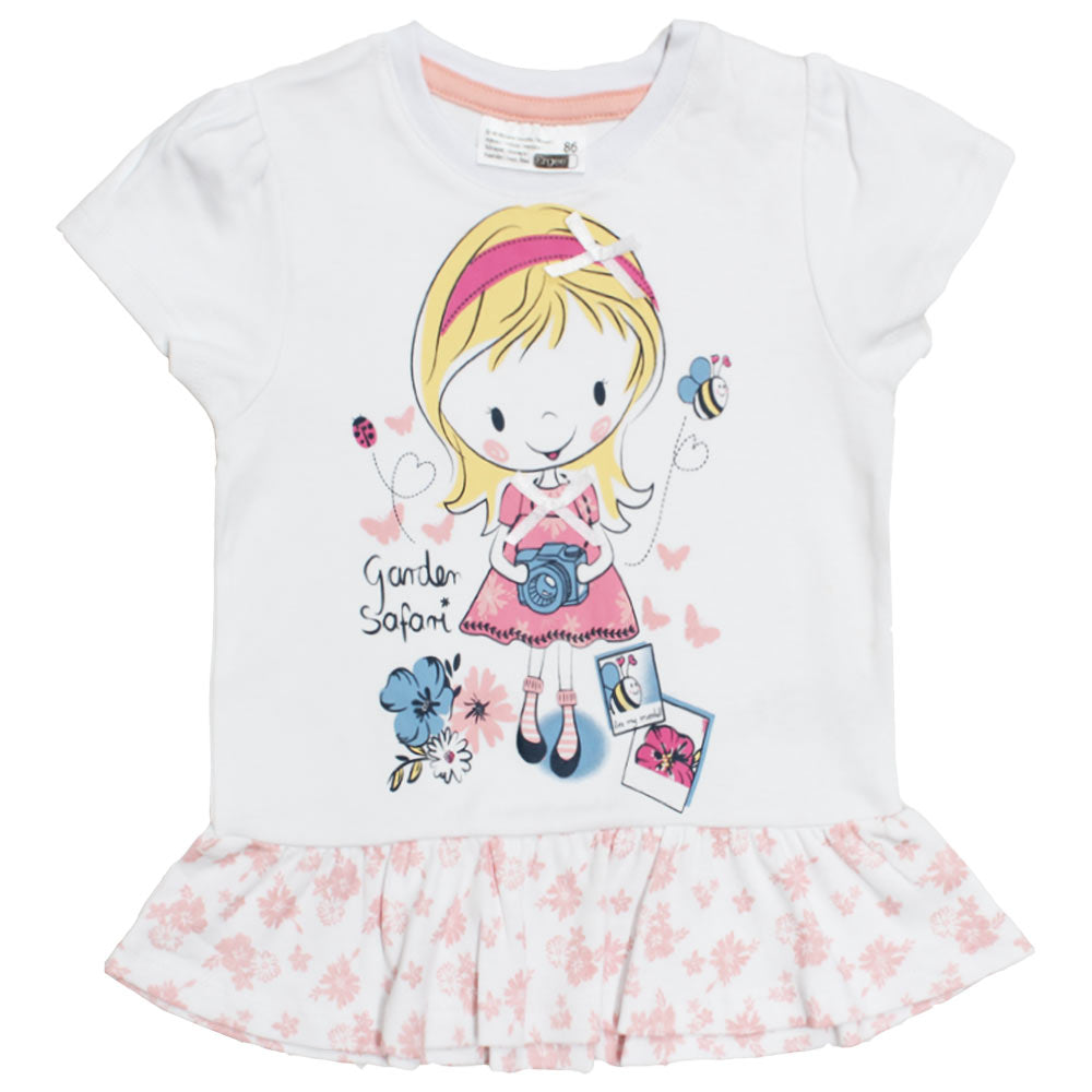 ERGEE Girls Print White Bow White Girls Premium Cotton Tshirt
