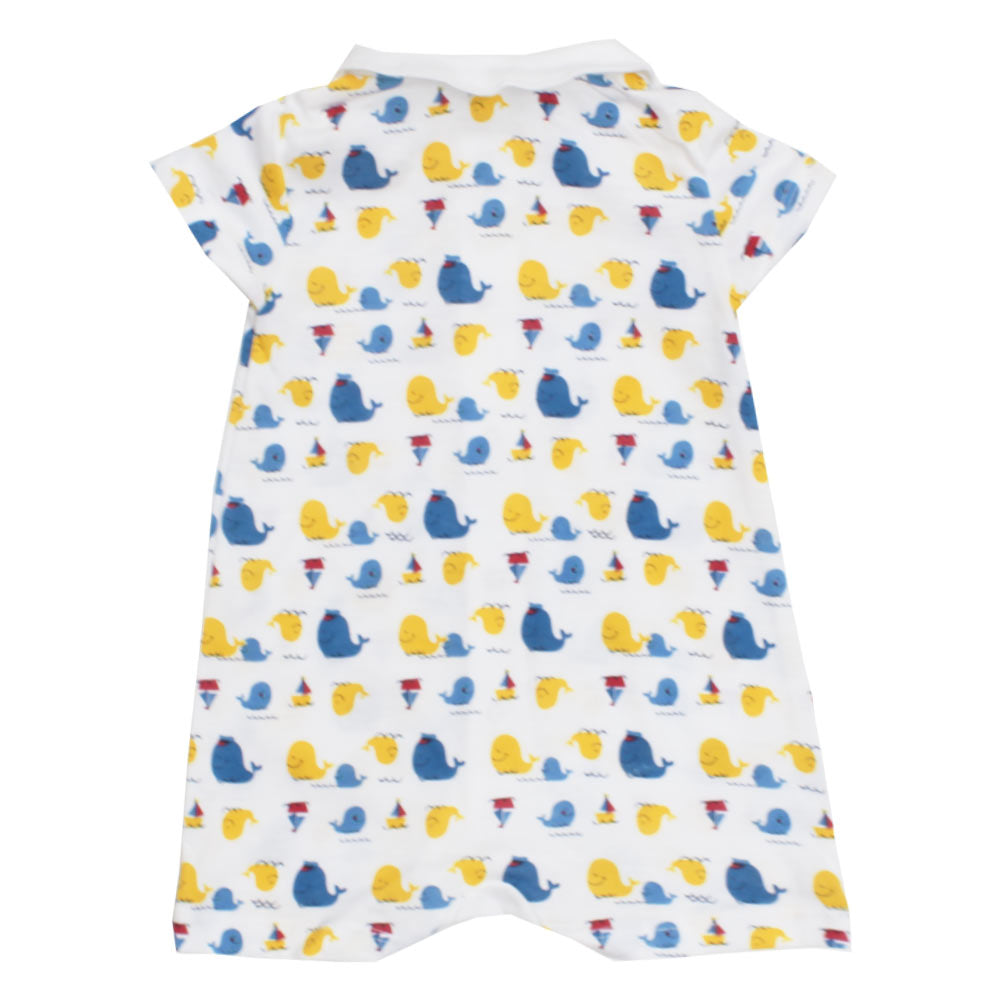 PRENATAL All Over Fish Print White Boys Romper