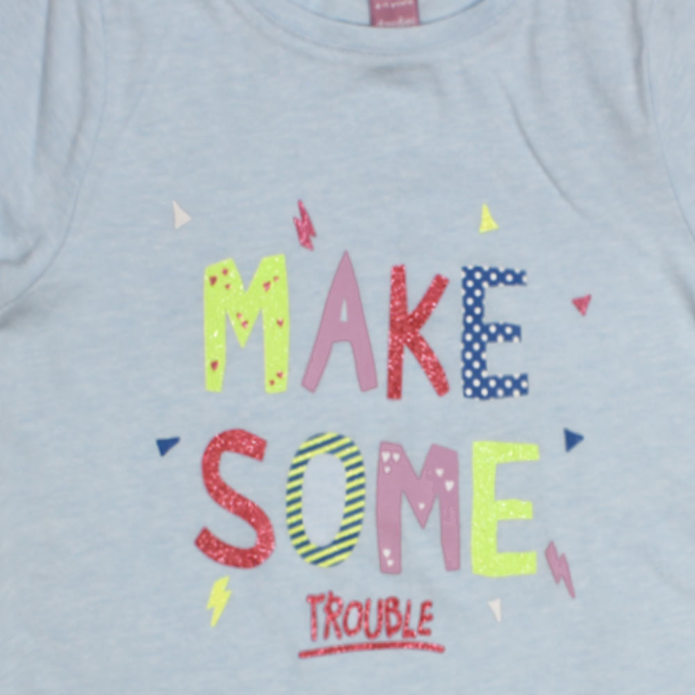 DOPO DOPO Make Some Light Blue Girls Premium Cotton Tshirt