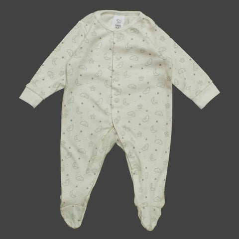 BABY CLUB Unisex All OVer Star and Clouds Offwhite Premium Sleep Suit