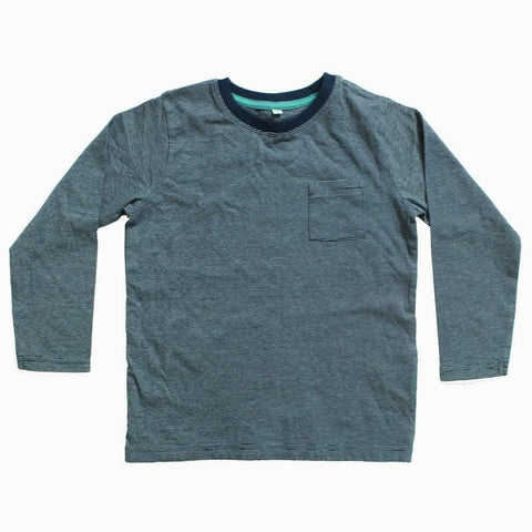 Navy blue and Grey Micro Stripes Front Pocket Boys tshirt
