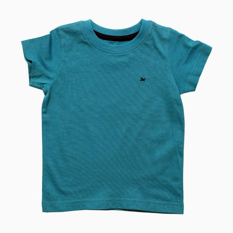 Blue Basic Boys Tshirt Chest small Embroidery