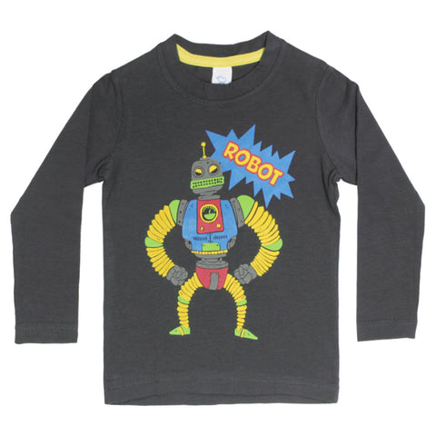 Robot print Boys Dark Grey Tshirt
