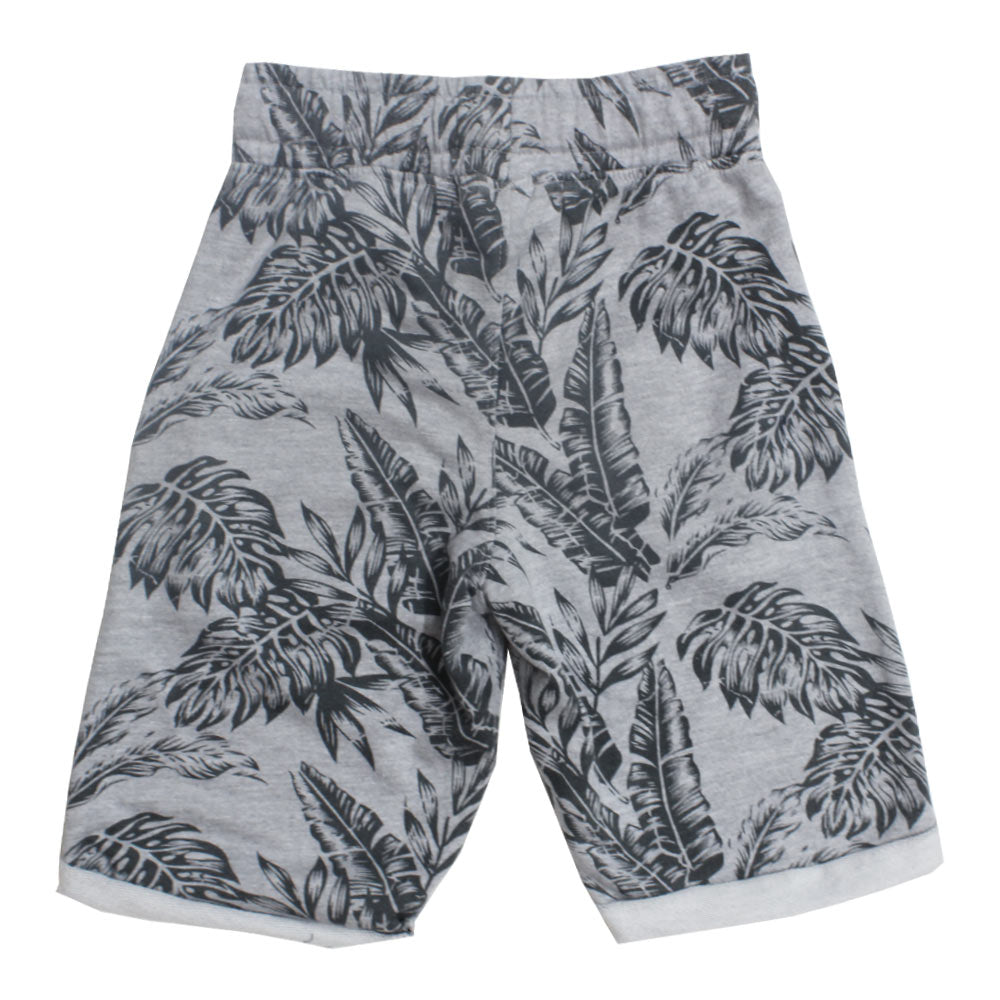 BLUE SEVEN Leaf Print Grey Boys Cotton Short