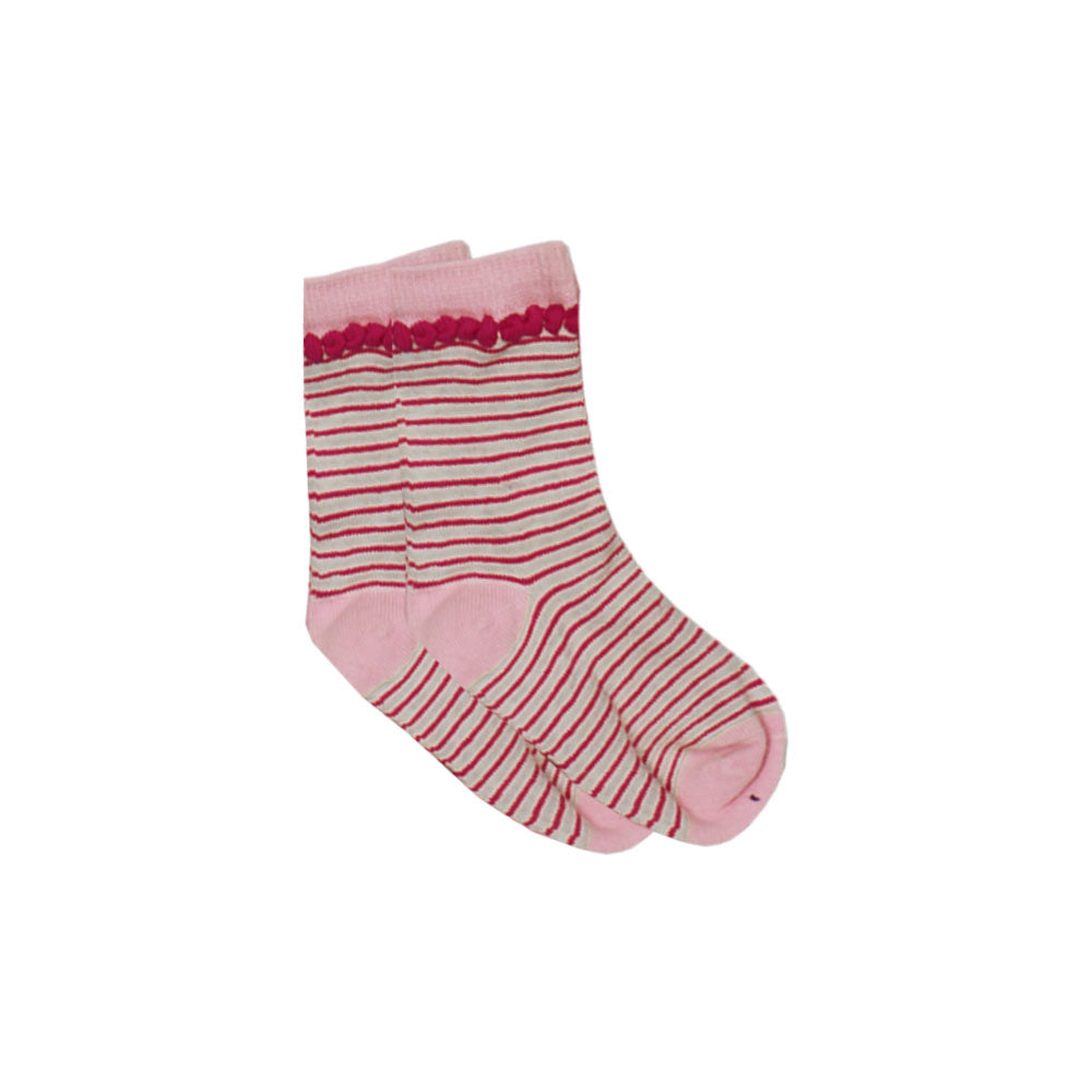 Light Pink And Pink Stripes Girls Socks