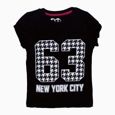 Glitter Print New York City Black Girls Tshirt