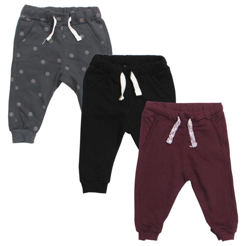 LEFTIES Black And Grey Cotton Fleece Trouser 3 Piece Bundle
