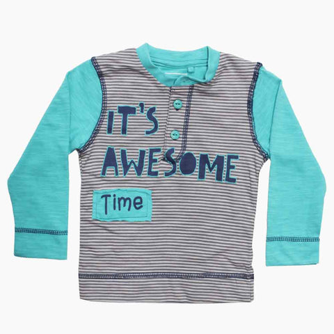 Awesome Time Boys Turuoise Green Raglan Sleeves Henley Cotton Tshirt