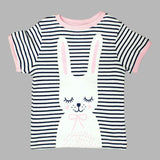 Cute Sleepy Gliter Bunny Girls Blue and White Stripes Premium Tshirt