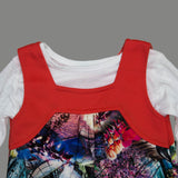 Gee Gee Digital Printed 2 Piece Fake Pocket Girls Dress