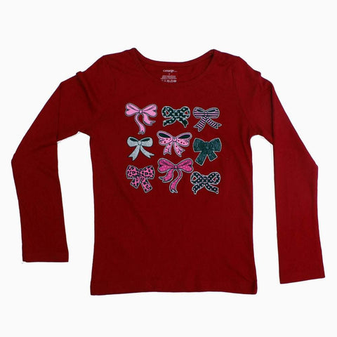 George Glitter Bow Full Sleeves Red Tshirt