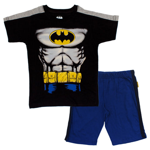 BatMan Chest Print Boys Black 2 piece Set