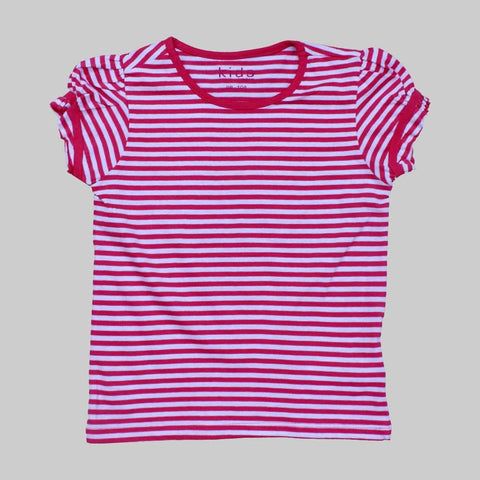 Girls fashion Sleeved Pink and White Stripes tshirt