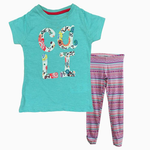 Red Tag CALI Light Turquoise Cotton Girls 2 piece Set