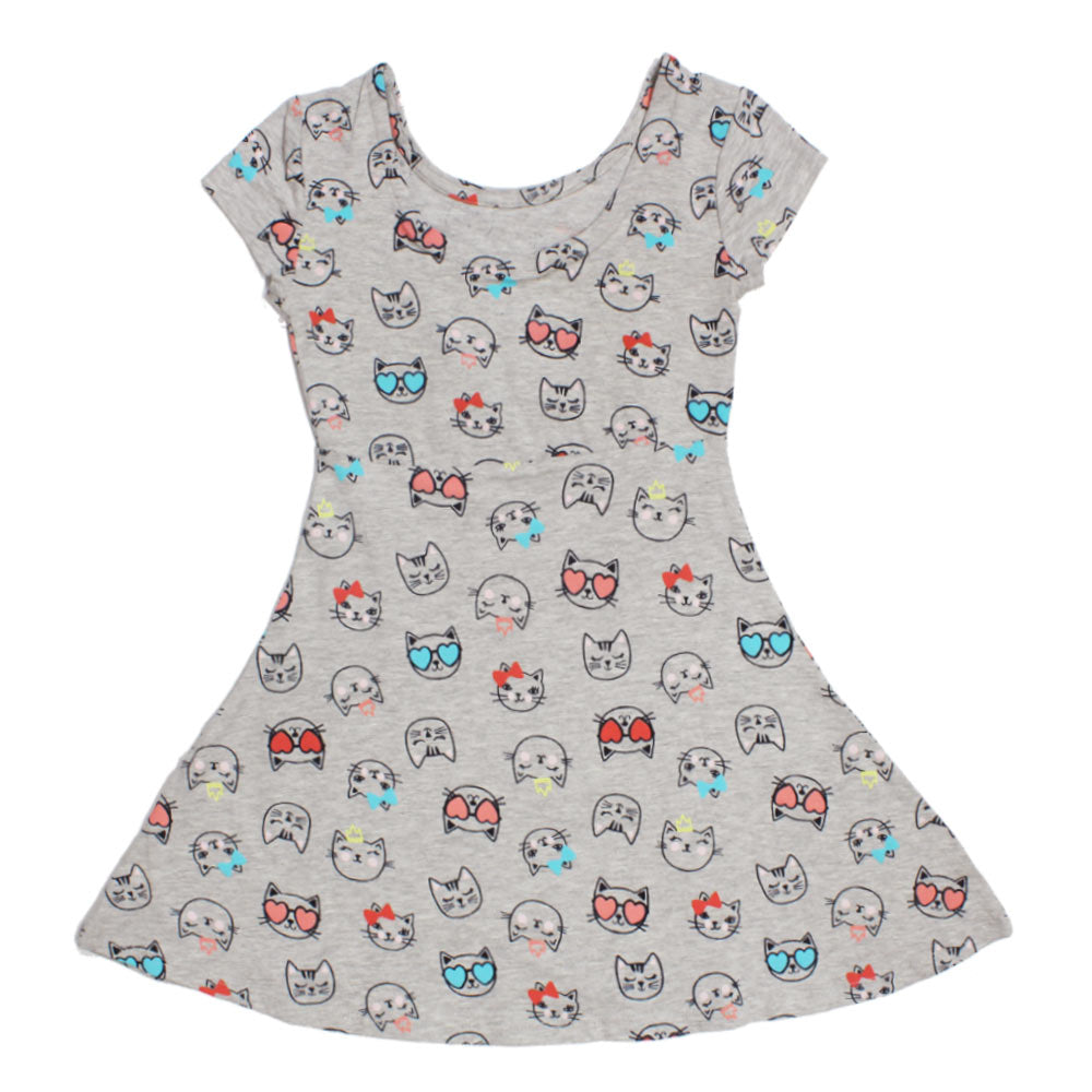 BASIC EDITION All Over Cat Grey Girls Premium Cotton Dress