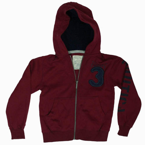 Nautica Blood Red 3 applique Zipper Hoodie